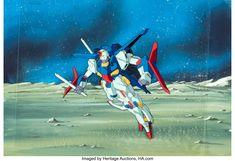 Mobile Suit Gundam ZZ MSZ-010 ZZ Gundam Production Cel with Painted Background (Sunrise, c. 1986-87) Zeta Gundam, Fighting Robots, Epic Story, Mobile Suit, Video Games, Sunrise, Original Paintings, Auction, Suits