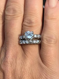 *set with small 2carat ring for $9999, could sell remaining diamonds. Colour J (looks a bit off, requested video) and on small side. Monthly payment available. approx 2.7mm, all I-SI2, approx total weight 0.28ct and set in the center with (1) approx 7.96mm round brilliant cut diamond, J-SI2, approx weight 2.08ct. One white gold matching fishtail style wedding band, approx 2.7 grams, stamped 14K and set with approx (6) 2.9mm round brilliant cut diamonds. All I-SI2, approx total weight...