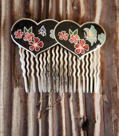 Vintage Cloisonne Hair Comb Enamel Floral Jewelry | eBay
