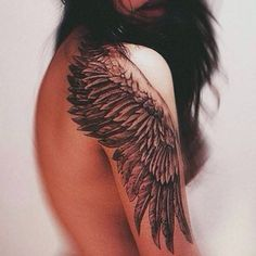 wing tattoo on the shoulder. looks gorgeous - tattoo - tattoos - wing tattoo - angel wing tattoo - angel wing Tattoo Girls, Girls With Sleeve Tattoos, Full Sleeve Tattoos, Tattoo Sleeve Designs, Girl Tattoos, Tattoos For Women, Tatoos, Tattoo Sleeves, Woman Tattoos