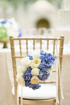 #Blue #ChairDecor | Photography: brancoprata - brancoprata.com | #Hydrangea | See more on #SMP Weddings: http://www.stylemepretty.com/2013/12/06/portugal-styled-shoot-from-karson-butler-events-wiup-winners/