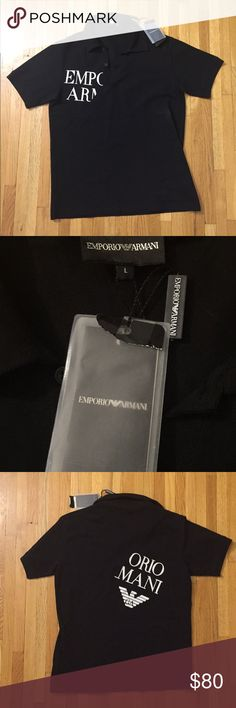 NWT Emporio Armani Mens Polo Brand new with Tags black men's polo with graphic writing on front through back Emporio Armani Shirts Polos
