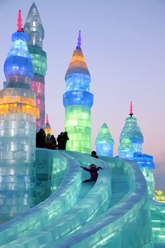 Harbin Ice Festival  - Kids have fun with the ice castle