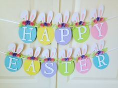 Excited to share this item from my shop: Happy Easter egg banner Happy Birthday Wishes For A Friend, Happy Birthday Girls, Happy Birthday Greetings, Happy Birthday Cakes, Happy Easter Banner, Happy Easter Day, Happy Mothers Day Images, Diy Easter Decorations, Table Decorations
