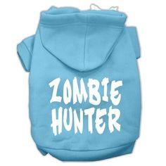 Zombie Hunter Screen Print Pet Hoodies Baby Blue Size XL (16)