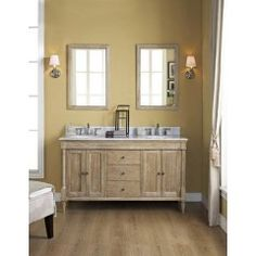Fairmont 142-V6021D Rustic Chic 60 Inch Double Bowl Vanity in Weathered Oak