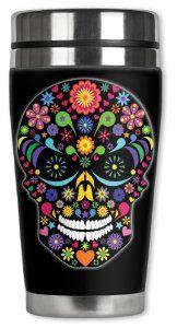 Amazon.com: Mugzie Multi Color Sugar Skull Travel Mug with Insulated Wetsuit Cover, 16 oz, Black: Mugzie Travel Mug: Kitchen & Dining