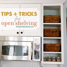Keep your open shelves looking spiffy with these tips and tricks for open shelving via Handmade Home