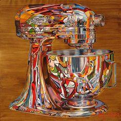 Brett Rhodes Neal (Vence France), via Wendy Hammond Red Kitchen Aid, Kitchen Paint, Kitchen Aid Mixer, Kitchen Decor, Kitchen Stuff, Kitchen Ideas, Kitchenaid Mixer Colors, Kitchen Gadgets, Kitchen Appliances