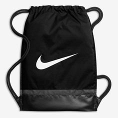 Nike Brasilia Training Gymsack, Drawstring Backpack with Zippered Sides, Water-Resistant Bag, Black/Black/White Black White Fashion, Black And White, Daniel Wellington, Zalando Style, Swim Days, Tween Girl Gifts, Tween Girls, Cinch Bag, Nike Bags