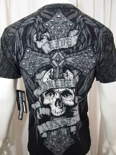 AFFLICTION MENS TEE,  cross skull love forever fast COLLECTION SZ small #Affliction #GraphicTee