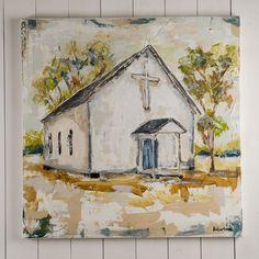 """""""Chapel at Rock Creek"""" Canvas Painting by Sarah Robertson"""