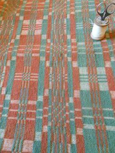 Antique 19thC Rust Sage Loom Woven Wool Coverlet Piece Unique Pattern | eBay
