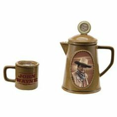John Wayne the Duke Western Movie Star Salt & Pepper Shaker Set by Vandor Imports. $29.95. Makes an excellent gift. The John Wayne Classic Western Movie Star Coffee Pot & Cup Salt and Pepper Set.  Put your salt in the coffee cup shaker, which measures 1.5 inches tall and 1.5 inches in diameter, and keep your pepper in the coffee pot shaker, which measures 4 inches tall and 3.5 inches wide (from spout to handle).  A beautifully detailed set!  Officially licensed ...