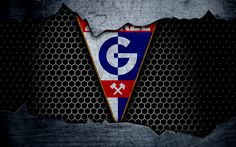 Download wallpapers Gornik Zabrze, 4k, logo, Ekstraklasa, soccer, football club, grunge, art, metal texture, Gornik Zabrze FC