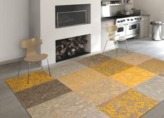 Vintage - Yellow 8084. Free UK delivery on all Louis de Poortere rugs. Vintage collection - distressed designs in a patchwork style - perfect large rugs for living rooms or bedrooms.