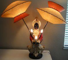 Vtg 50s Aladdin Lamp UFO Fiberglass Shades Mid Century Modern