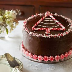 Peppermint-Chocolate Layer Cake: Chocolate and peppermint is a classic holiday combination, and when paired together in this rich cake, they make a delectably festive dessert. Find more easy, creative, and easy Christmas dessert recipes and ideas here. Best Christmas Desserts, Christmas Treats, Christmas Cakes, Christmas Cheesecake, Naughty Christmas, Christmas 2019, Layer Cake Recipes, Dessert Recipes, Layer Cakes
