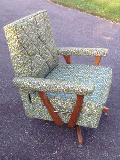 Vintage Mid-Century Swivel Rocker Lounge Chair/Upholstered Chair W/Teak Wood? #MidCenturyModern