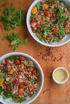 Spring Farro, Roasted Tomato, + Arugula Bowl   What Annie's Eating