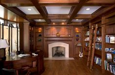 Traditional Home Office with Coffered ceiling, Cement fireplace, Parker house barcelona library ladder, Built-in bookshelf Traditional Home Offices, Traditional Dining Rooms, Traditional Kitchens, Traditional Bedroom, Home Office Design, House Design, Library Design, Library Ideas, Desk In Living Room