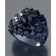 Guess Jet Black Crystal Accent Ring (305 MXN) ❤ liked on Polyvore featuring jewelry, rings, guess? rings, guess jewellery and guess jewelry