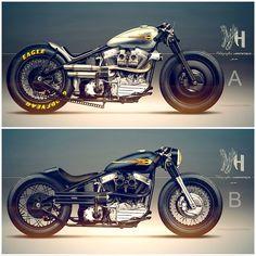 Harley Davidson Bike Pics is where you will find the best bike pics of Harley Davidson bikes from around the world. Motos Bobber, Motos Honda, Bobber Bikes, Bobber Motorcycle, Bobber Chopper, Cool Motorcycles, Honda Bobber, Indian Motorcycles, Triumph Motorcycles