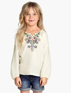 H&M Little Girls Embroidered Blouse