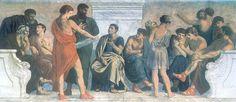Em 335 a.C. Aristóteles funda sua própria escola em Atenas, em uma área de exercício público dedicado ao deus Apolo Lykeios, daí o nome Liceu. A escola de Aristóteles, afresco de Gustav Adolph Spangenberg, 1883-1888