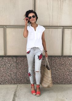 DIY embroidered jeans, how to copy the look