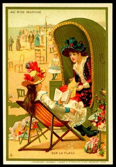 "French Tradecard. On the Beach. Au Bon Marche (Paris) ""Seaside Days"" c1889."