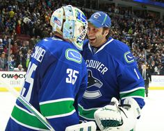 Luongo and Schnieder celebrating after a game Vancouver Canucks, Game, Celebrities, Sports, Tops, Celebs, Venison, Sport, Shell Tops