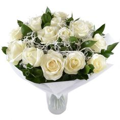A tender and perceptible #bouquet of 15 white roses will be classical but at the same time pleasant gift for newweddies