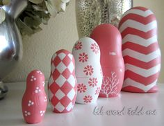 Russian Stacking Dolls in Coral and White - Matryoshka. $40.00, via Etsy.
