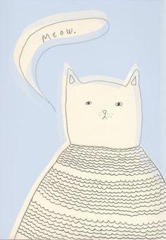 Stampa stampa 'Meow' A421 x 29.7 cm  Illustrazione di OlgaMustDraw, $20.00