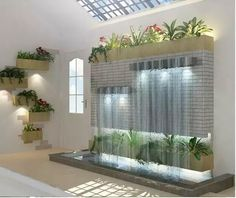 Ideas How To Build Tabletop Fountains Interior Garden, Home Interior Design, Interior And Exterior, Room Interior, Foyer Design, Wall Design, House Design, Indoor Wall Fountains, Indoor Fountain