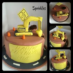 Chocolate mud cake with hand crafted edible excavator