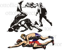 WRESTLING SILHOUETTES VECTOR clipart eps, ai, cdr, png, jpg, wrestlers, combat sport icon, greco-roman freestyle wrestling fight, athlete by ottoflickvector on Etsy