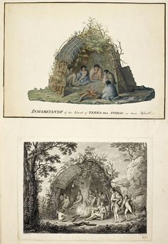 Upper drawing; Inhabitants of the island of Tierra del Fuego, in their hut, by Alexander Buchan, January 1769. Lower engraving; A View of the Indians of Tierra del Fuego in their hut, by Francesco Bartolozzi, 1773