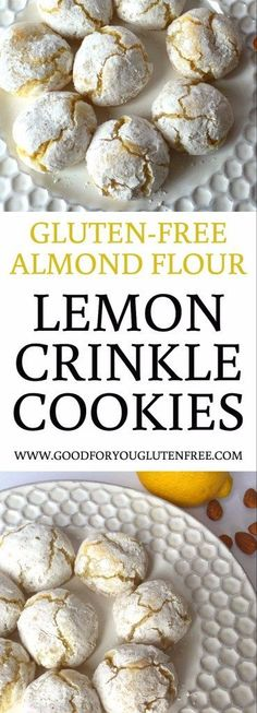 Gluten-Free Almond Flour Lemon Crinkle Cookies Recipe - Good For You Gluten Free #lemoncookies #crinklecookies #almondflour #cookies