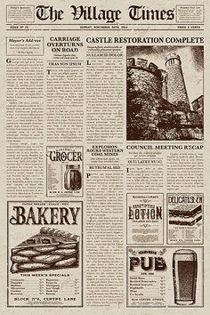 Vintage Newspaper Art Print by bortonia Newspaper Collage, Newspaper Background, Vintage Newspaper, Newspaper Design, Newspaper Crafts, Vintage Paper, Newspaper Wallpaper, Collage Vintage, Vintage Art Prints