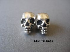 2pc Silver Skull Large Hole Beads Spacer European Charm