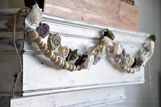 DIY Fabric Flower Garland - A Wonderful Thought Easy Fabric Flowers, Diy Flowers, Crochet Flowers, Flower Pots, Fabric Garland, Floral Garland, Diy Garland, Wreaths And Garlands, Flower Garlands