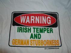 Warning Irish Temper T-Shirt. Everything about me, explained!