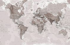 Neutral Shades World Map Mural, custom made to suit your wall size by the UK's No.1 for wall murals. Custom design service and express delivery available.