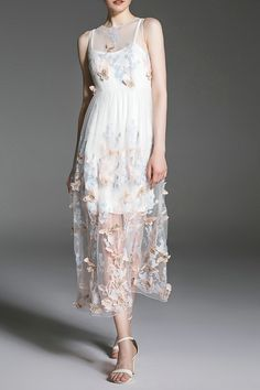 Sheer Stereo Butterfly Maxi Dress Twinset