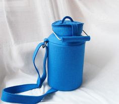 Blue Felt Milk Can Bag by krukrustudio on Etsy, $145.00