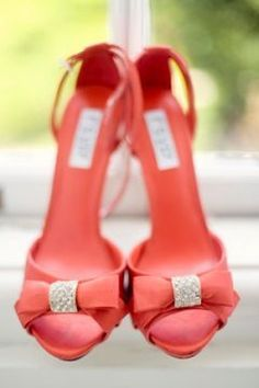 coral wedding shoes lambent knot heels luminous bows sit prettily on a curving peep toe Coral wedding shoes in Category Coral Wedding Shoes, Coral Shoes, Wedding Heels, Bridal Shoes, Wedding Colors, Coral Weddings, Coral Sandals, Beauty And More, Toms Outfits