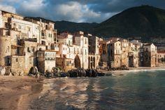 Seaside buildings in Cefalu Palermo, Italy