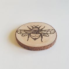 Bee nice to each other! Bee wood magnet, wood burned, pyrography, fridge magnet